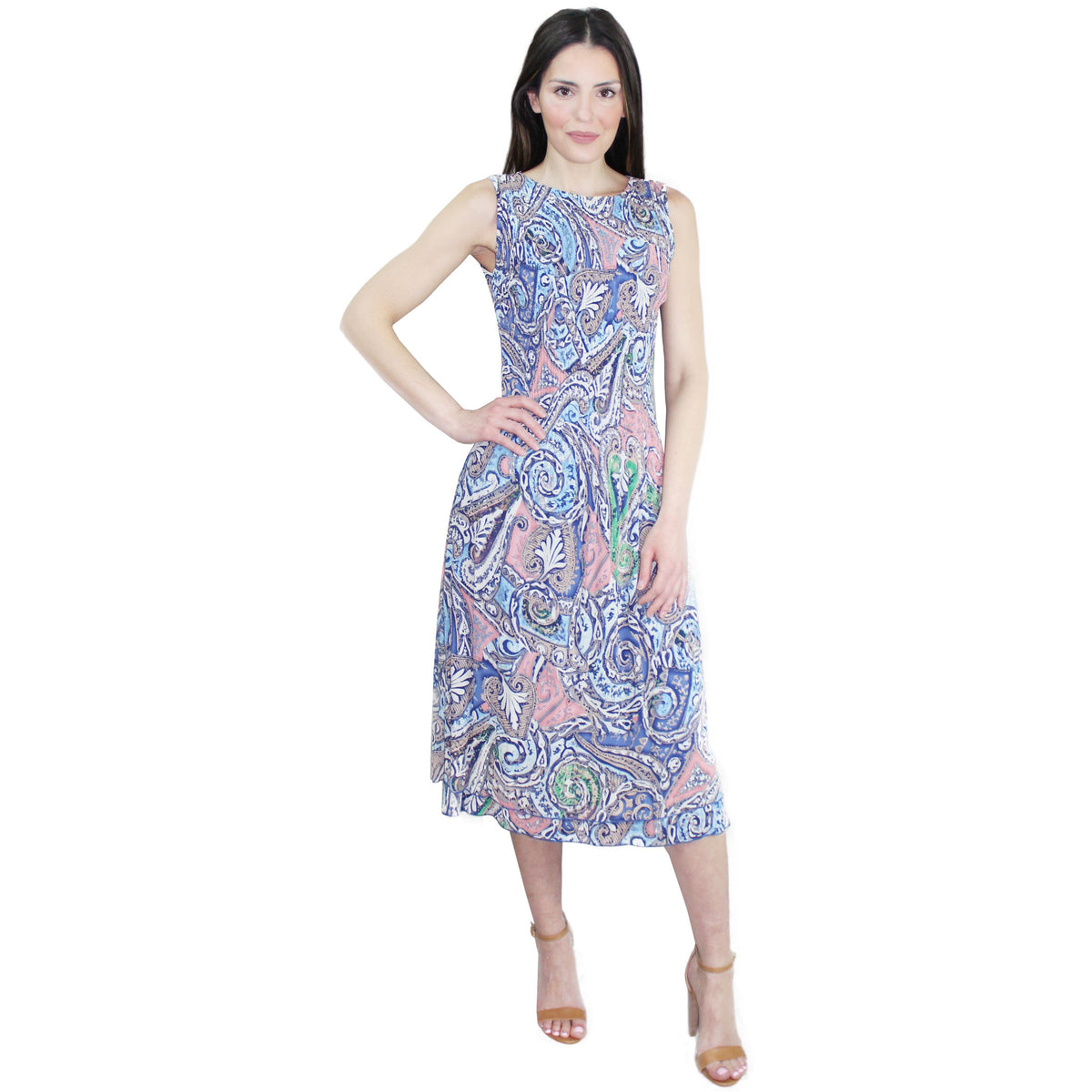 Sleeveless Maxi Crinkle Dress - Paisley