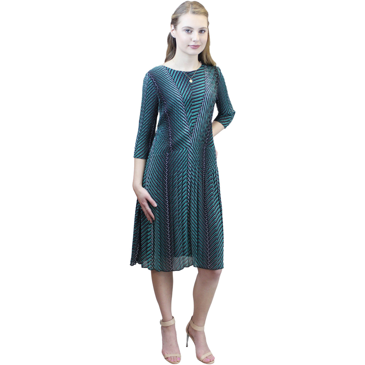 3/4 Sleeve 3D Print Dress - Green