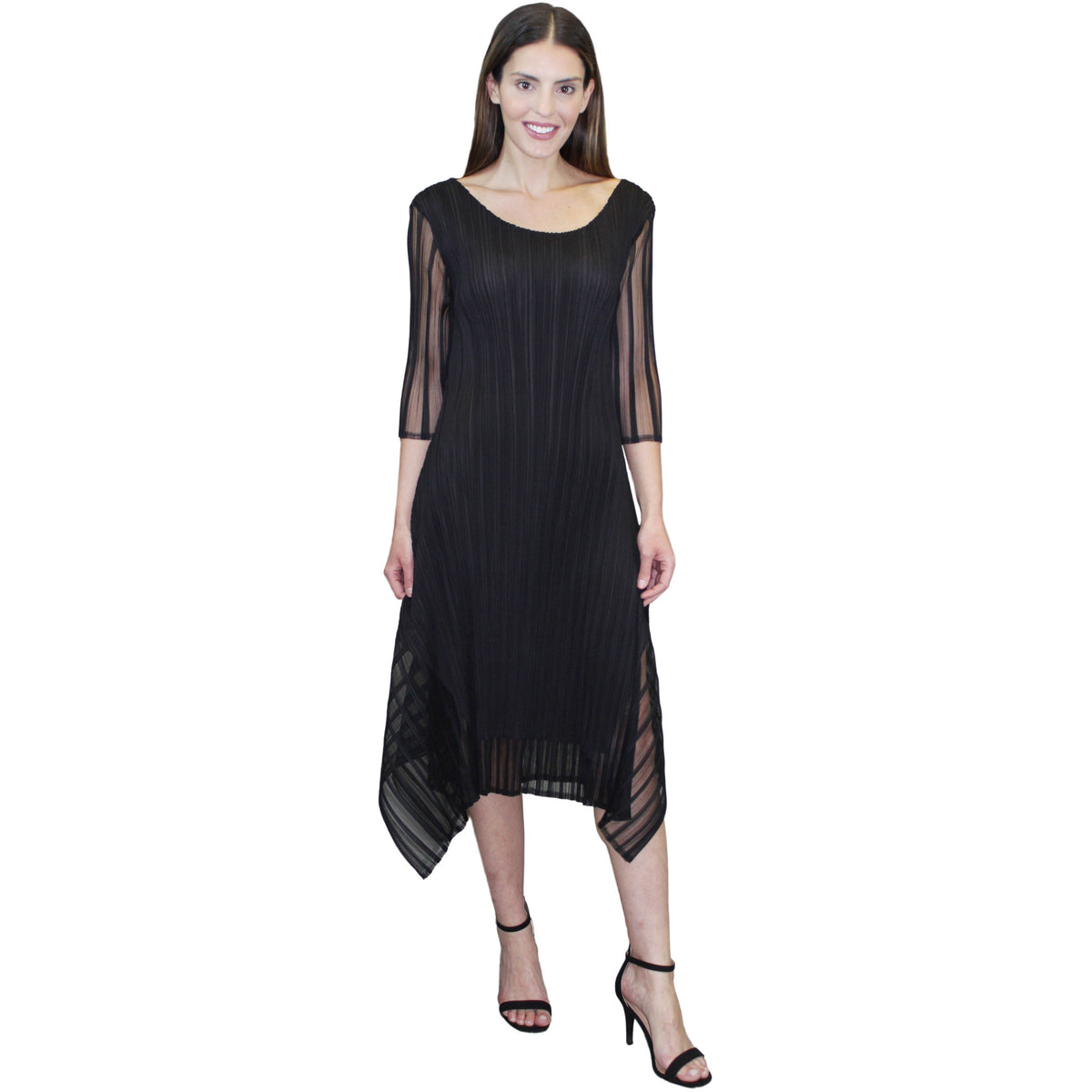Illusion Stripe Dress - Black