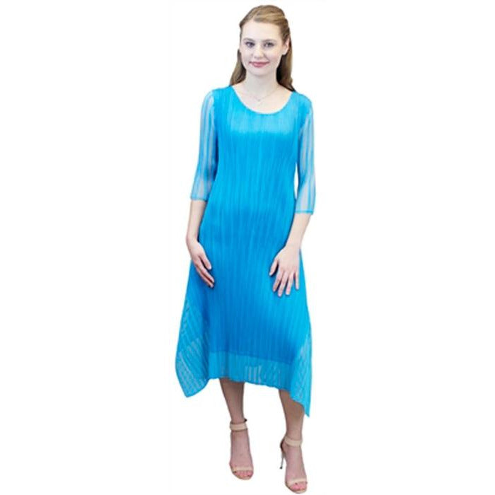 3/4 Sleeve Illusion Crinkle Dress - Blue