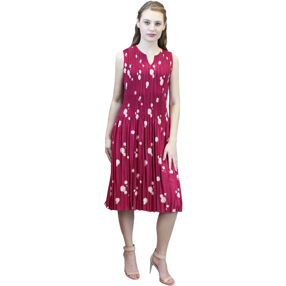 Bleach Dot Crinkle Dress - Red