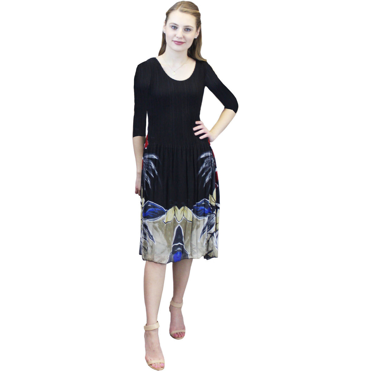 3/4 Sleeve Skirt Print Crinkle Dress - Black
