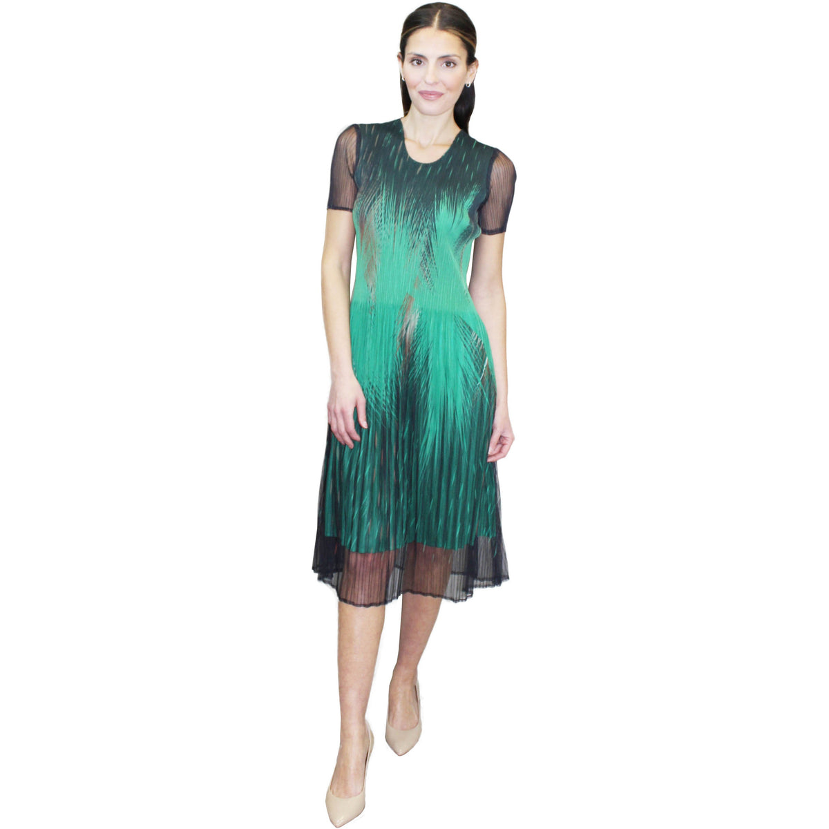 Feather Ombre Crinkle Dress - Green
