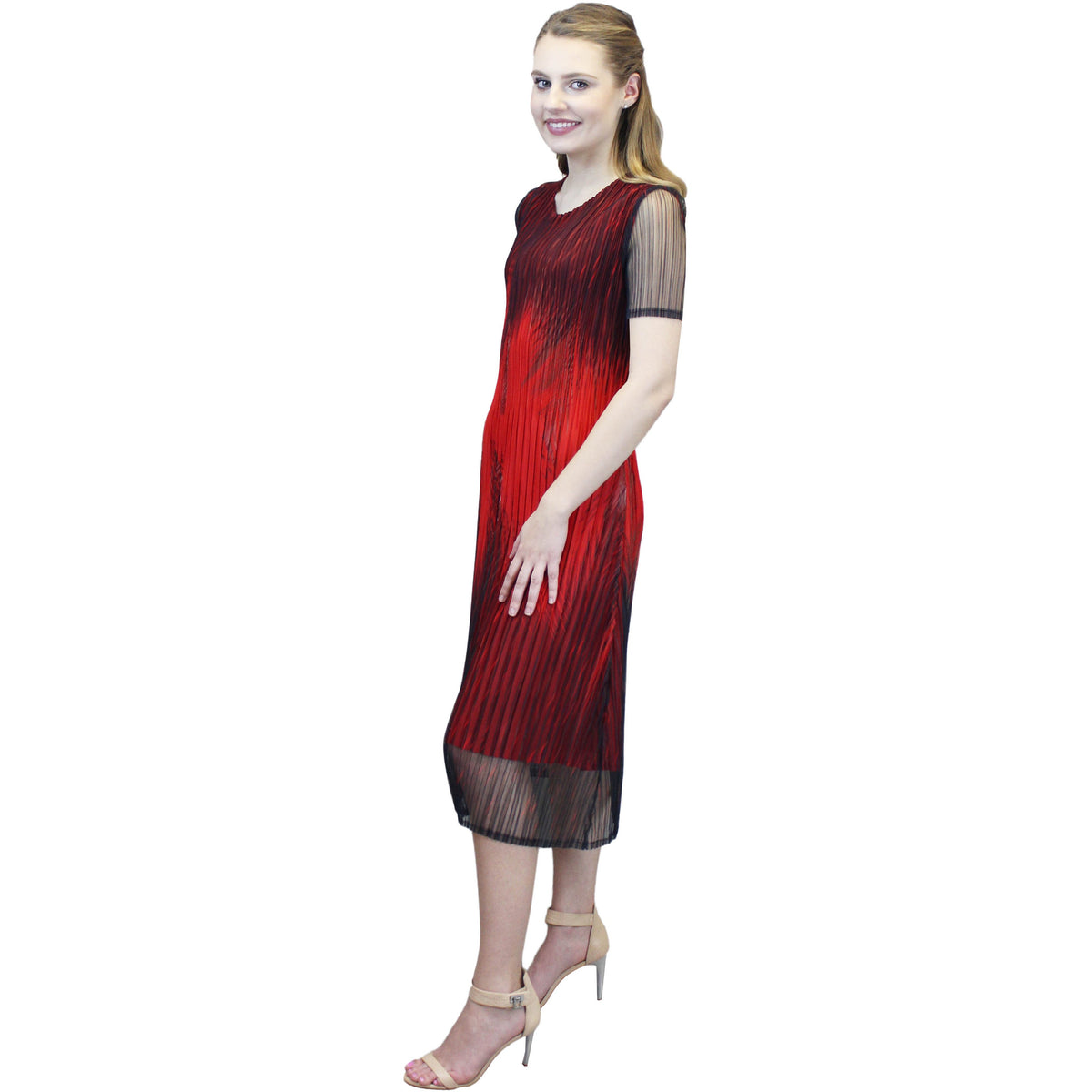 Feather Ombre Crinkle Dress - Red