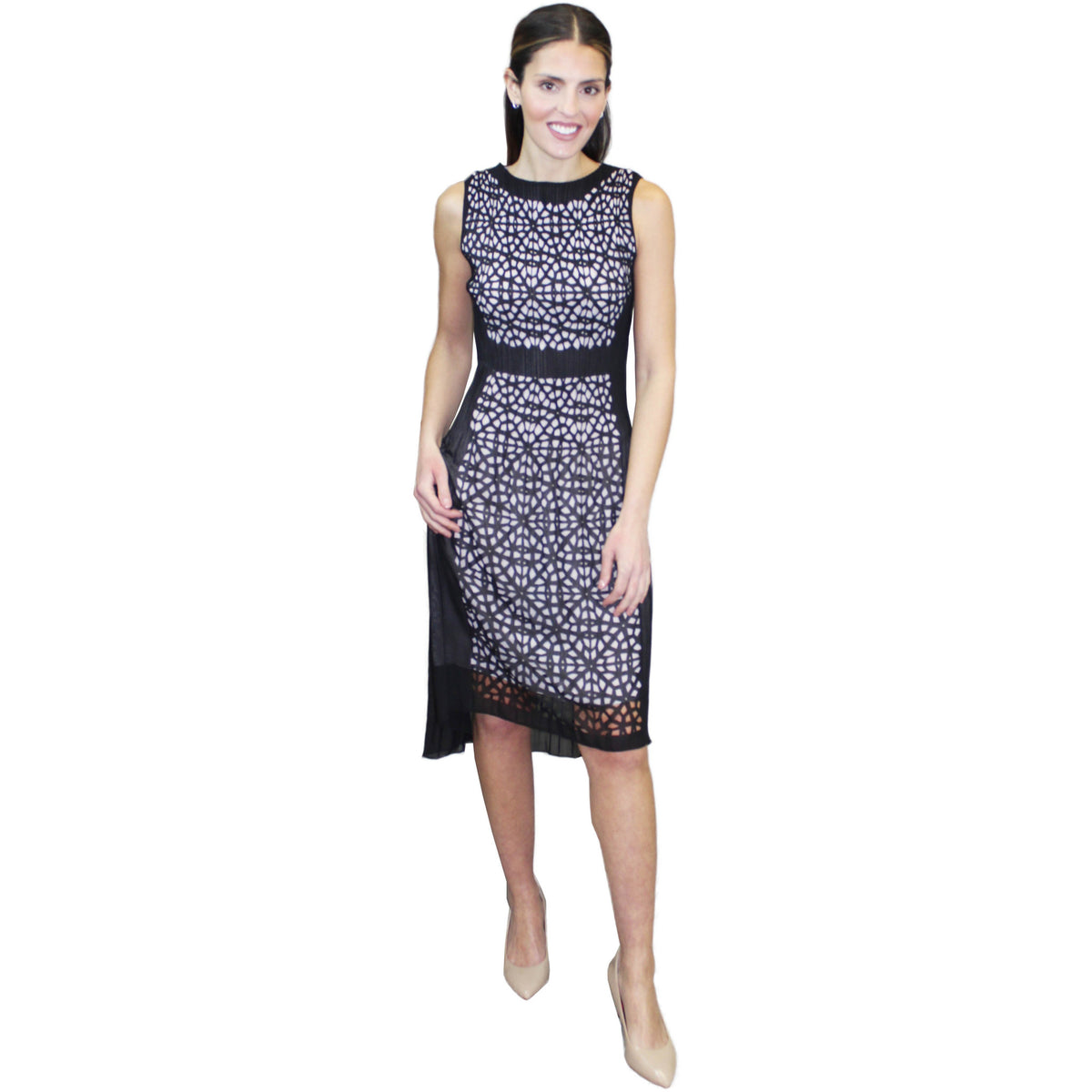 Sleeveless Laser Cut Crinkle Dress - Black