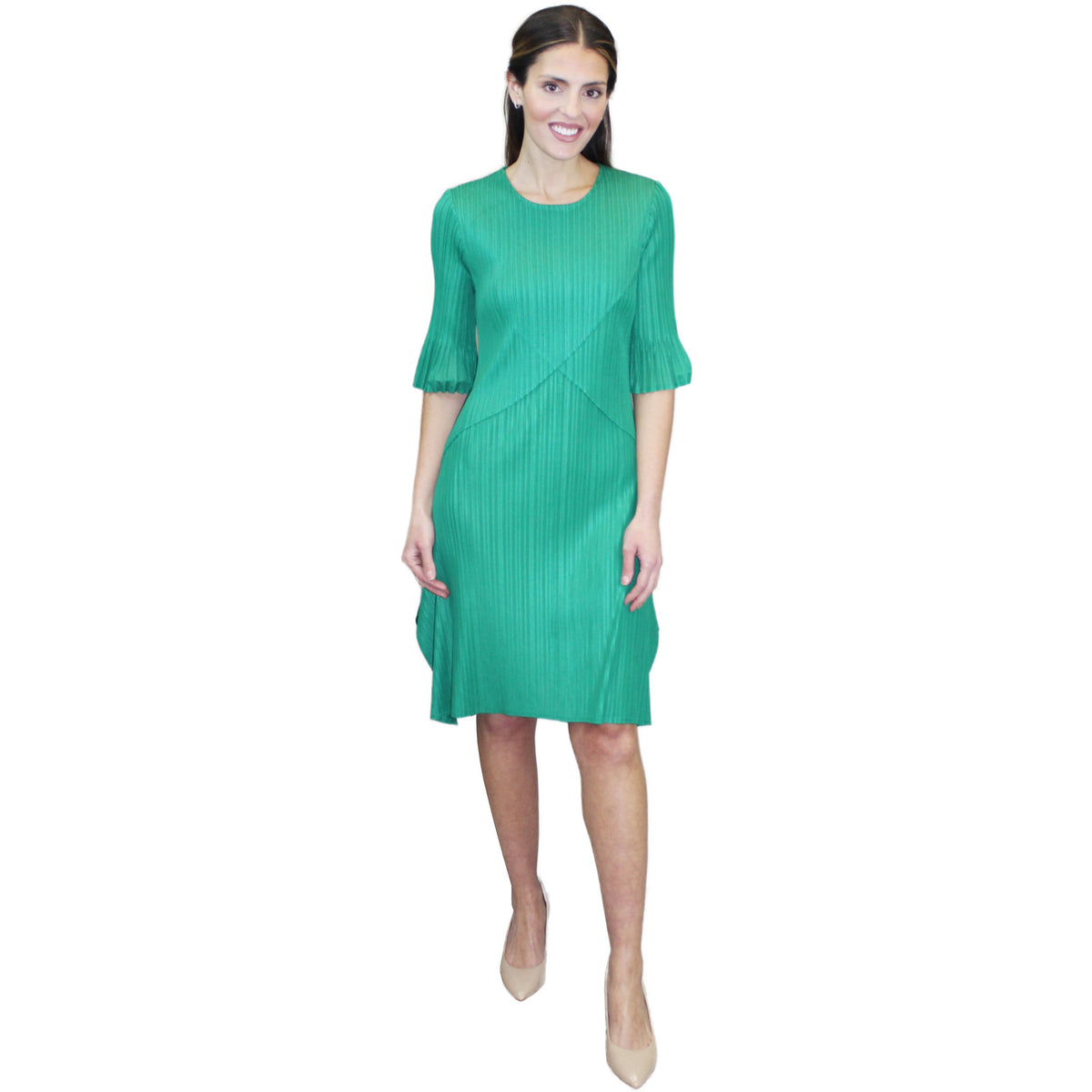 Crisscross Crinkle Dress - Green