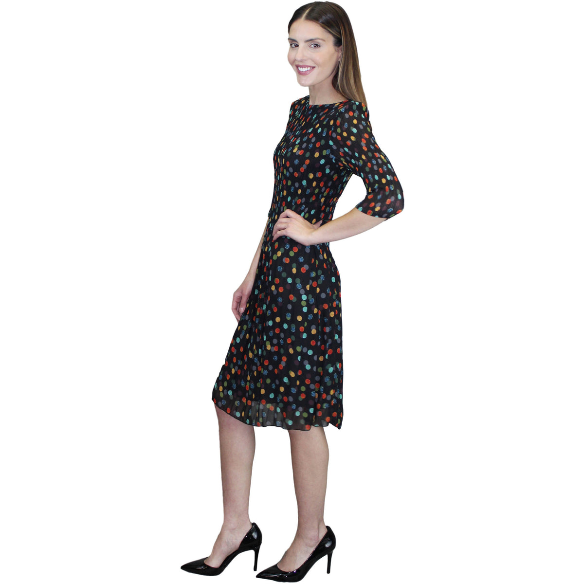 3/4 Sleeve Dot Print Dress - Black