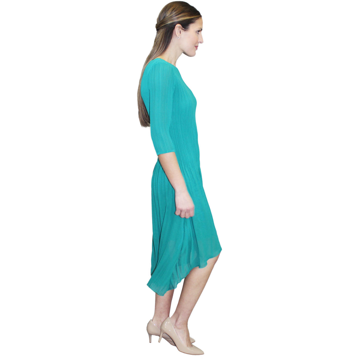 3/4 Sleeve High Low Crinkle Dress - Green