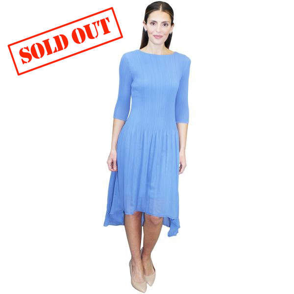 3/4 Sleeve High Low Crinkle Dress - Light Blue