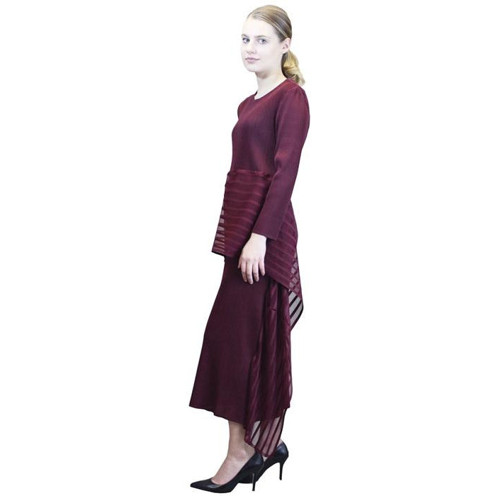 3/4 Sleeve Holiday Tea Length Crinkle Dress - Wine