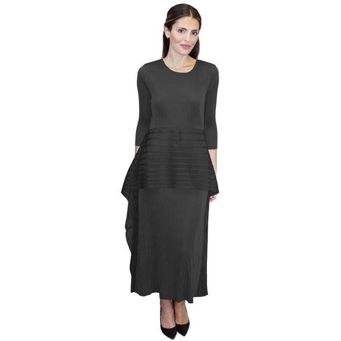 3/4 Sleeve Holiday Tea Length Crinkle Dress - Black