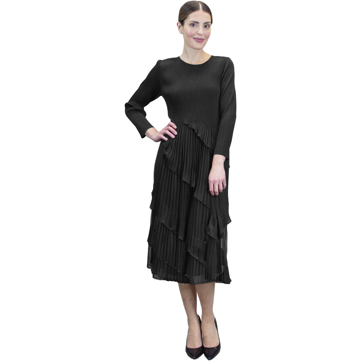 3/4 Sleeve Multi Layer Crinkle Dress - Black