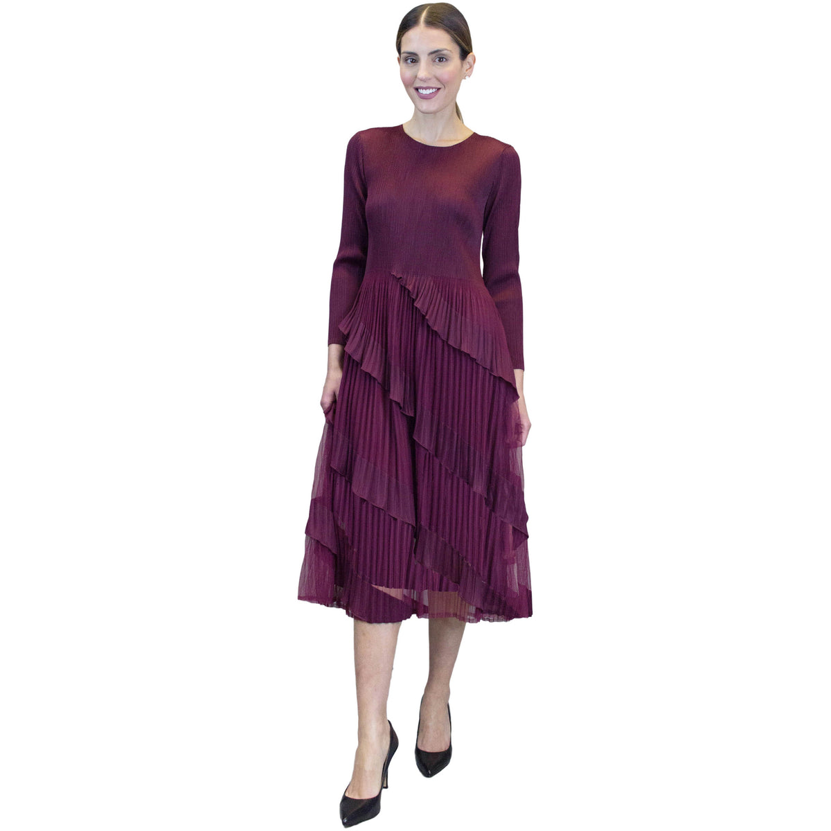 3/4 Sleeve Multi Layer Dress - Merlot
