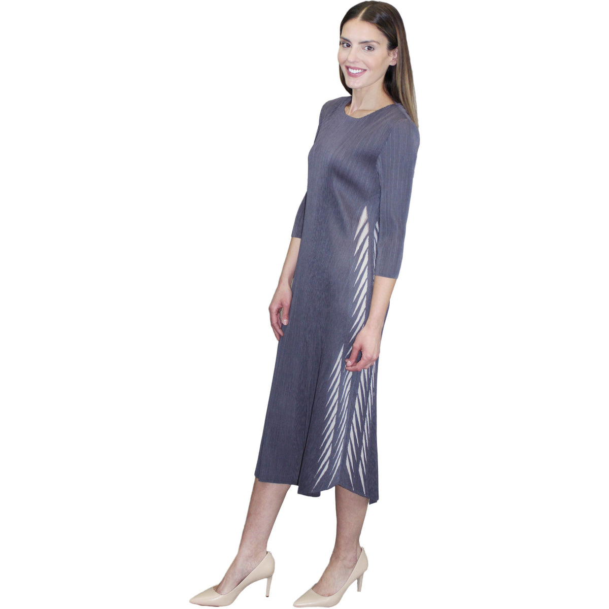3/4 Sleeve Side Laser Cut Dress - Gray