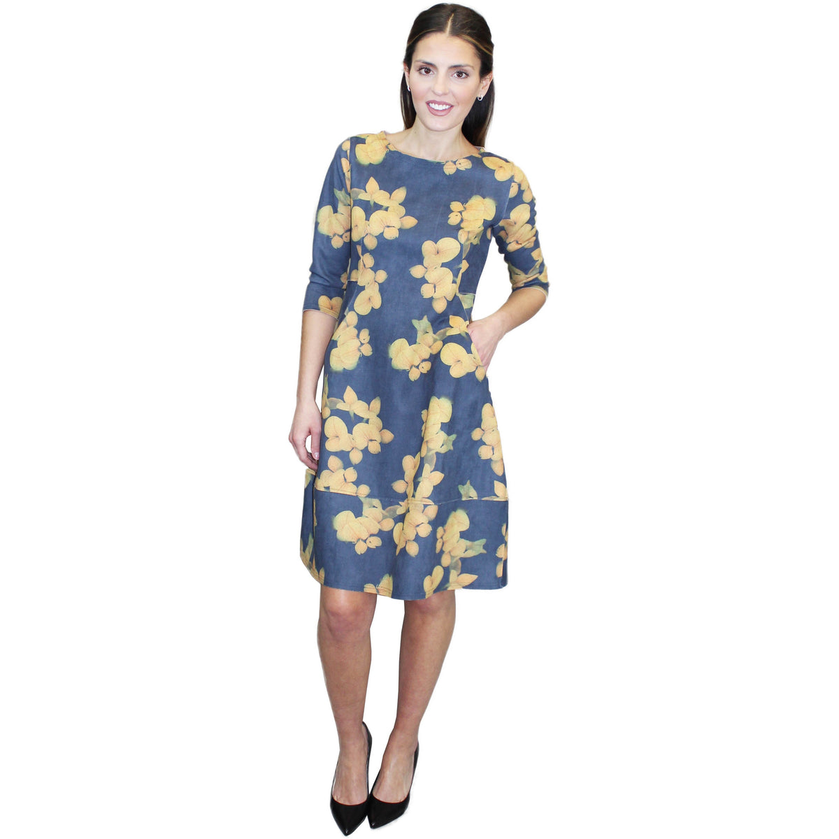 Long Sleeve Floral Crinkle Dress with Pockets - Navy