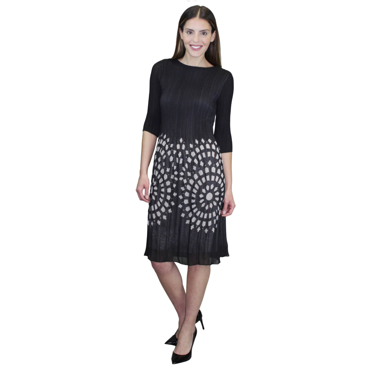 3/4 Sleeve Pleated Crinkle Dress - Black