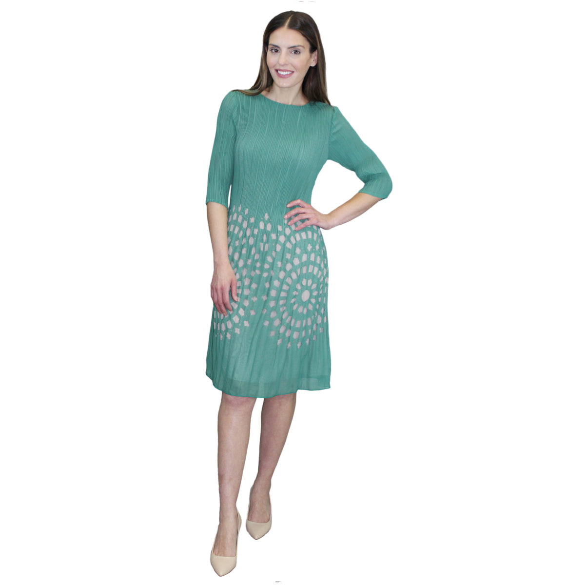 3/4 Sleeve Pleated Dress - Green