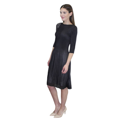 3/4 Sleeve Laser Cut Dress - Black
