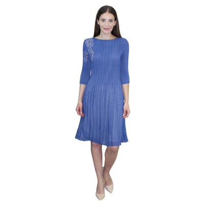 3/4 Sleeve Laser Cut Crinkle Dress - Blue