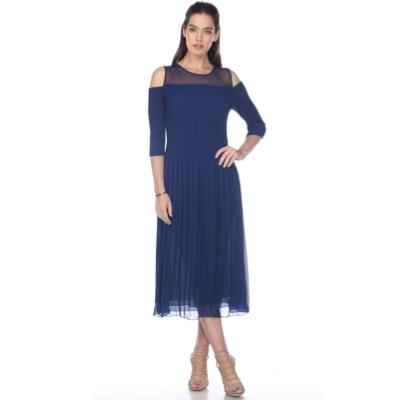 3/4 Sleeve Cutout Crinkle Dress