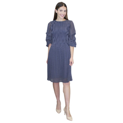 Puffy Sleeve Crinkle Dress - Navy Dots