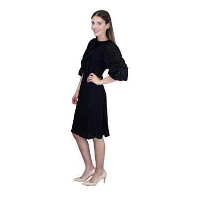 Puffy Sleeve Crinkle Dress - Black