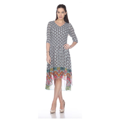 3/4 Sleeve High Low Print Crinkle Dress  - White Multi