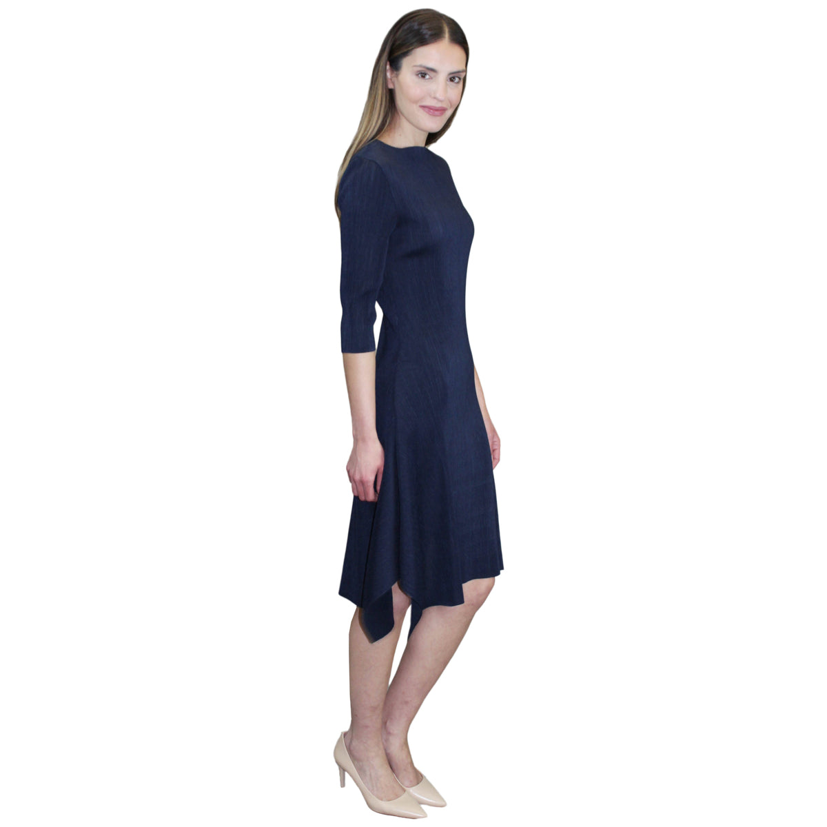 3/4 Sleeve Hanky Ham Crinkle Dress - Navy