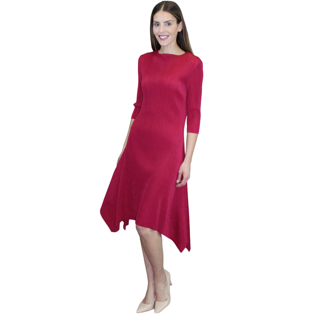 3/4 Sleeve Hanky Ham Crinkle Dress - Red