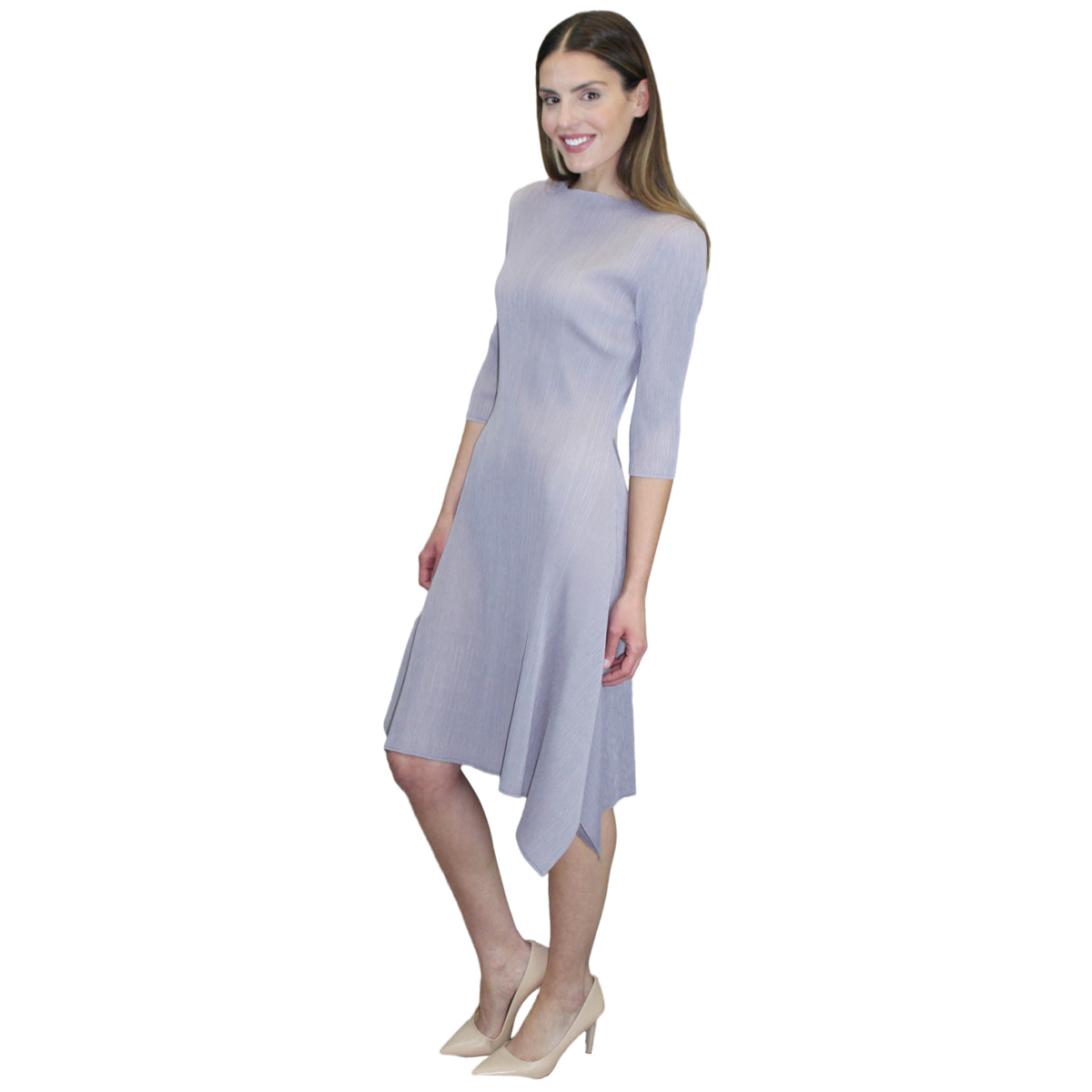 3/4 Sleeve Hanky Ham Crinkle Dress - Silver