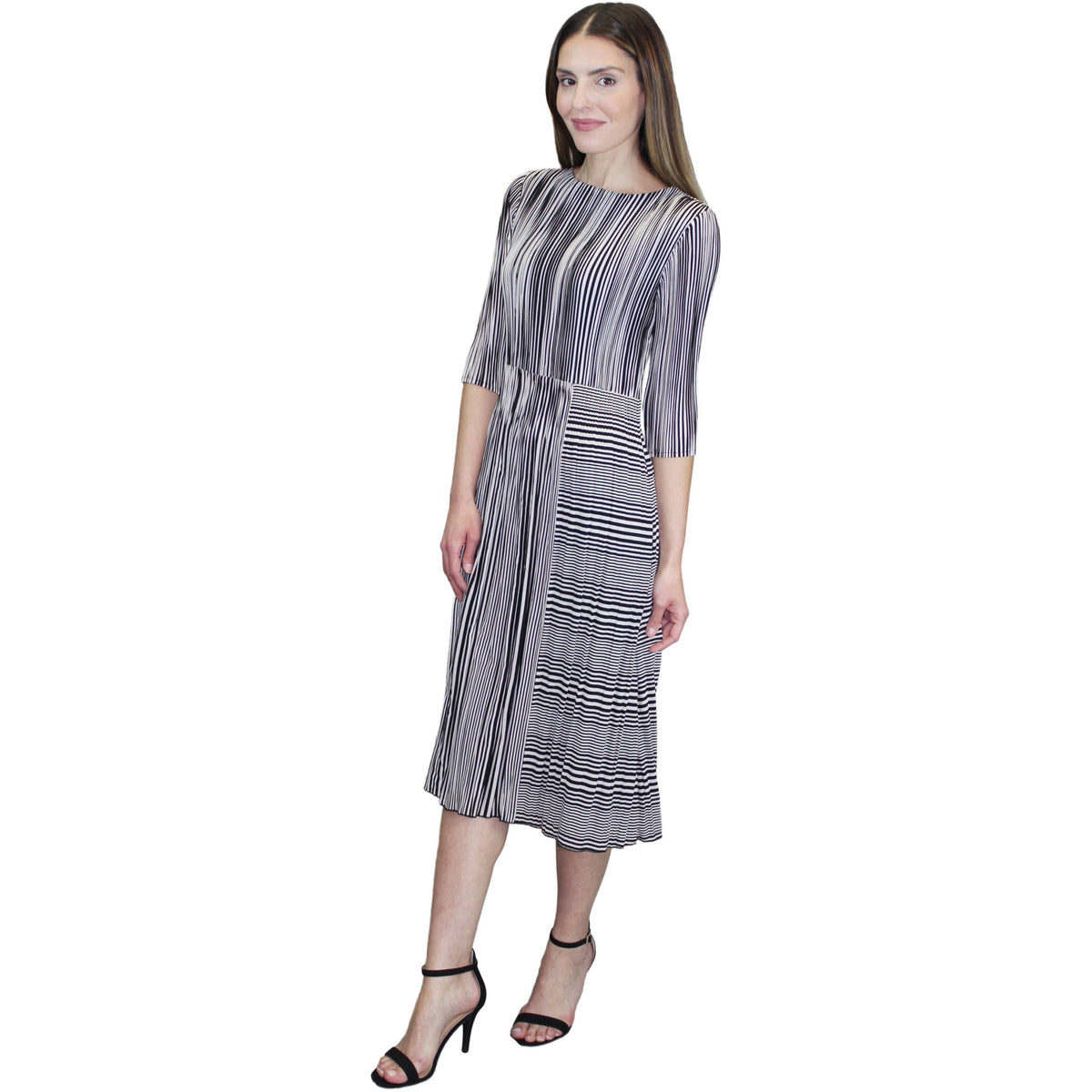 3/4 Sleeve Strip Crinkle Dress - Black and White