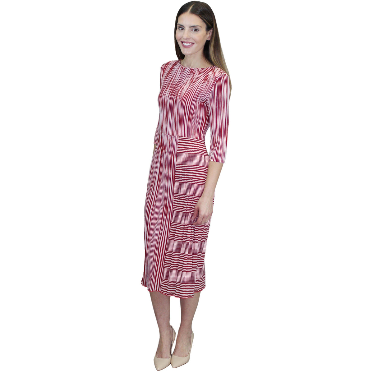 3/4 Sleeve Strip Crinkle Dress - Red and White
