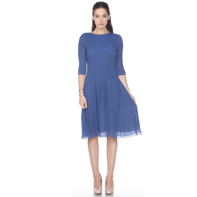 3/4 Sleeve Solid Pleated Crinkle Dress
