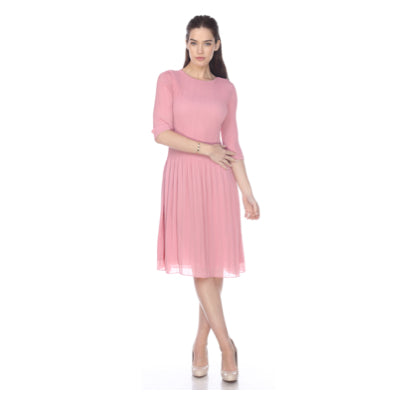3/4 Sleeve Solid Pleated Dress