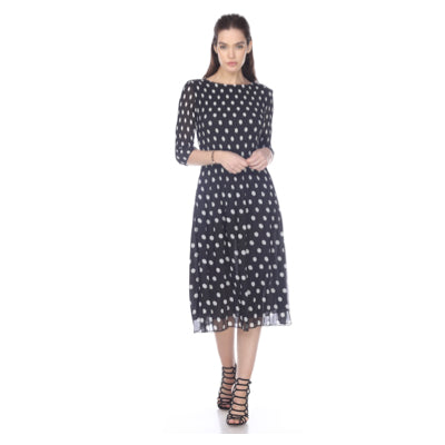 3/4 Sleeve Dot Print Crinkle Dress - Black