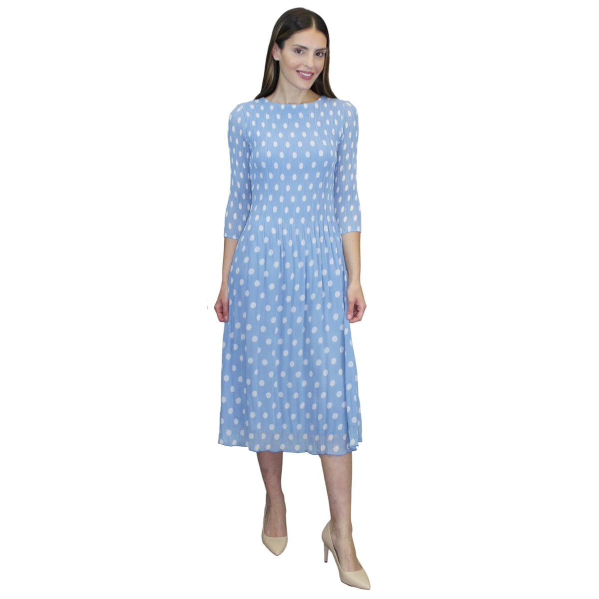 3/4 Sleeve Dot Print Crinkle Dress - Blue