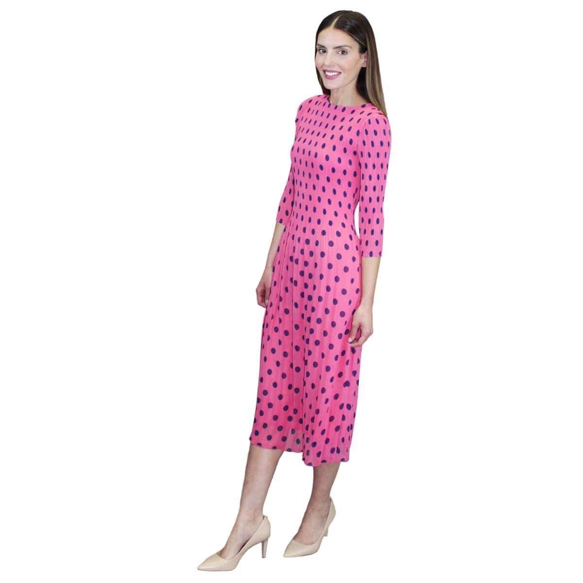 3/4 Sleeve Dot Print Crinkle Dress - Pink