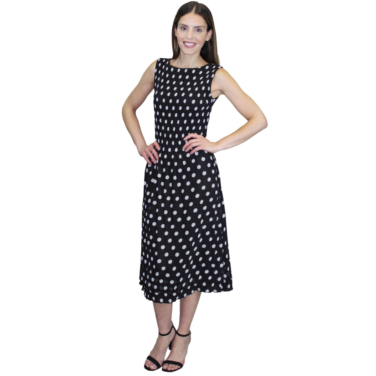 Sleeveless Dot Print Crinkle Dress - Black