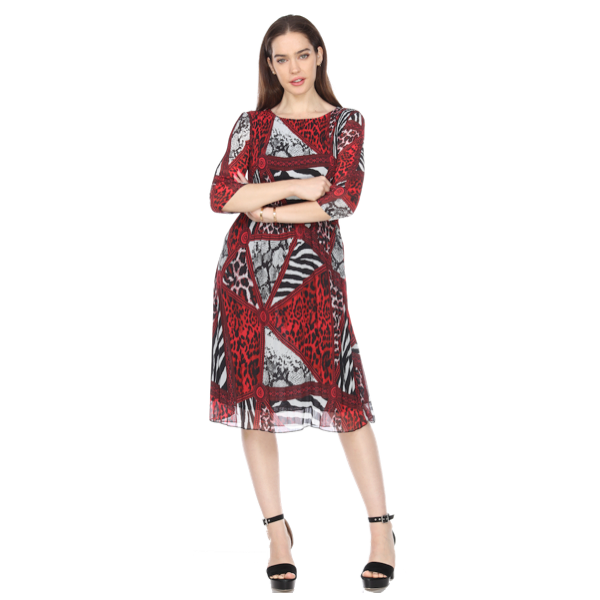 3/4 Sleeve Leopard Print Crinkle Dress - Red