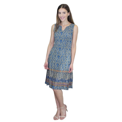 Sleeveless Print Dress - Blue Multi