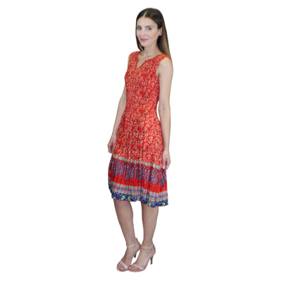 Sleeveless Print Crinkle Dress - Red Multi
