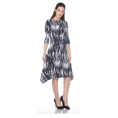 3/4 Sleeve Hanky Ham Crinkle Dress - Black