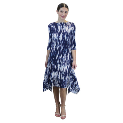 3/4 Sleeve Hanky Ham Crinkle Dress - Blue