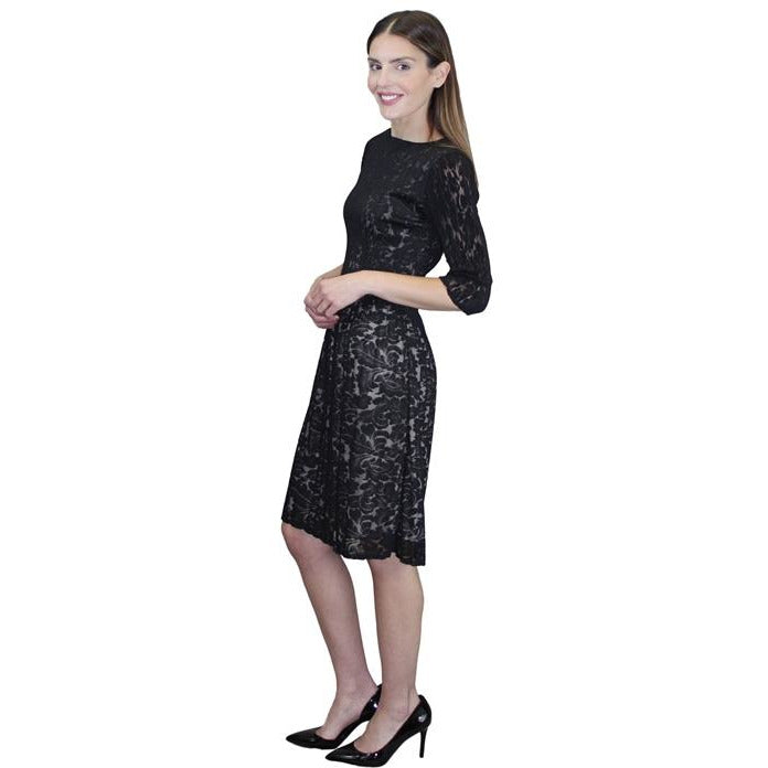3/4 Sleeve Lace Crinkle Dress - Black