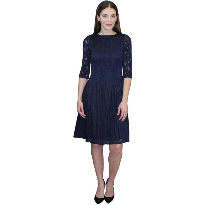 3/4 Sleeve Lace Dress - Navy