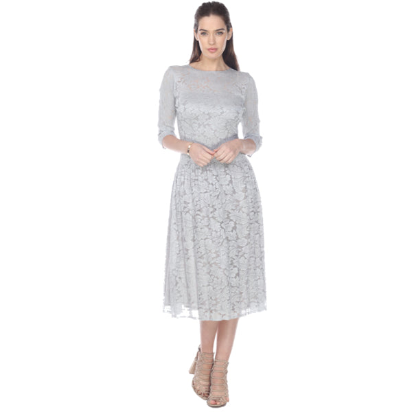 3/4 Sleeve Lace Crinkle Dress - Silver