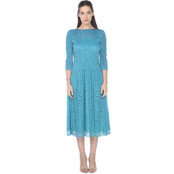 3/4 Sleeve Lace Crinkle Dress - Teal