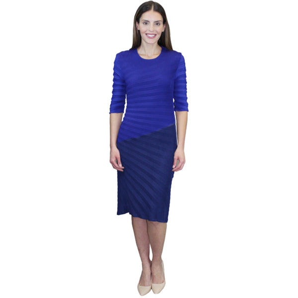 3/4 Sleeve Zigzag Two Tone Crinkle Dress - Blue