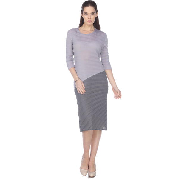 3/4 Sleeve Zigzag Two Tone Crinkle Dress - Gray