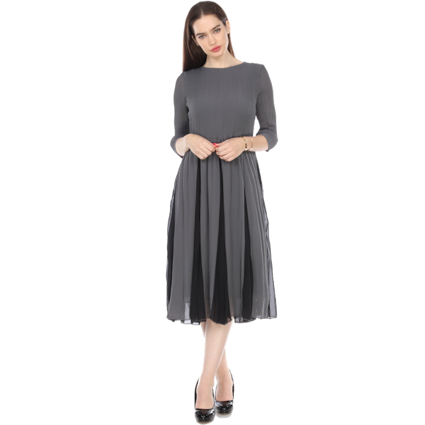 3/4 Sleeve Skirt Insert Dress - Gray